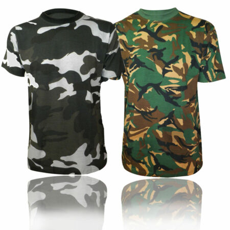 img-MENS DESERT JUNGLE CAMOUFLAGE CAMO SHORT SLEEVE TOP TSHIRT GREEN GREY S - 5XL