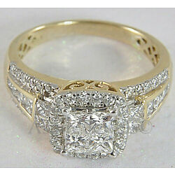 Kyпить 3.24ct Princess cut Invisible Diamond Engagement Ring Solid 14K Yellow Gold  на еВаy.соm