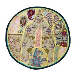 Patchwork Round Bohemian Floor Pouf Cushion Cover Handmade Pouf or door mat CO07