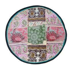 Patchwork Round Bohemian Floor Pouf Cushion Cover Handmade Pouf or door mat CO23