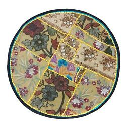 Patchwork Round Bohemian Floor Pouf Cushion Cover Handmade Pouf or door mat CO66