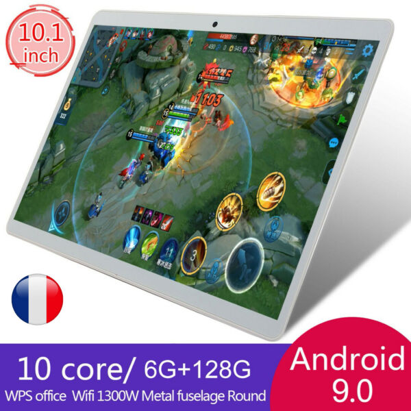 10.1''Tablette Tactile Android 9.0 WiFi 8 Core Incurvé 2.5D 6GB+128GB PC 2SIM FR