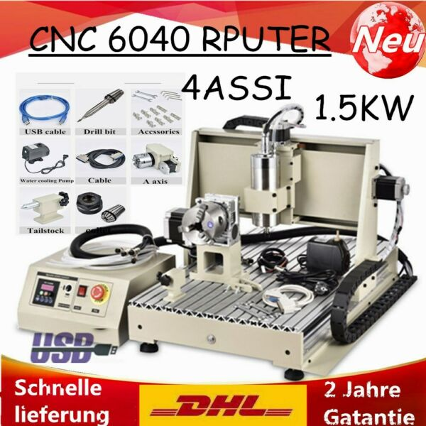 4ASSI USB 6040 CNC Router Engraver Incisore 1.5KW Fresatrice Milling Macchina