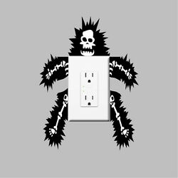 Funny Outlet Or Light Switch Wall Decal Sticker Electrocuted Man Skeleton, s45