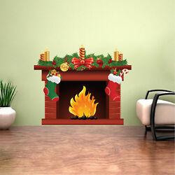 Holiday Fireplace Wall Decal Winter Christmas Window And Wall Decorations, h92