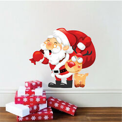 Santa Claus And Rudolph Wall Decal Winter Christmas Window Wall Decorations, h88