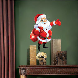 Santa Claus And Sack Wall Decal Winter Christmas Window Party Decoration, h83