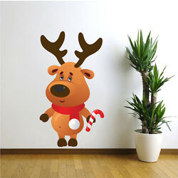Reindeer Wall Decal Winter Wall Decor Christmas Party Window Decorations, h76