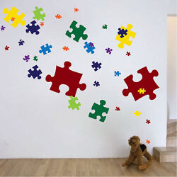 Puzzle Pieces Wall Decal Mural Vinyl Colors Jigsaw Puzzle Removable Art, d06