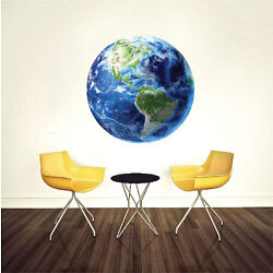 Earth Wall Decal Mural Planet Space World Wall Vinyl Mural Removable Art, c12