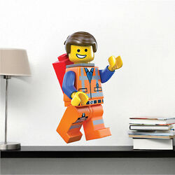 Lego Movie Emmet Wall Decal, Kids Movie Wall Mural, Lego Toy Character, s99