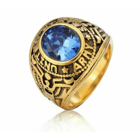 img-United States US Army Golden Ring USMC Military Stainless Steel Gem Rings