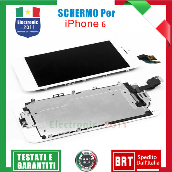 SCHERMO PER IPHONE 6 BIANCO ASSEMBLATO COMPLETO DISPLAY LCD & Home Button&Camera