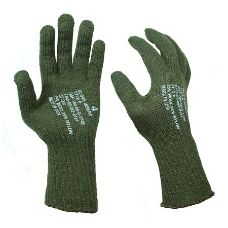 img-Olive Military AMERICAN GI GLOVE INSERTS Repro Type II US Wool Liner