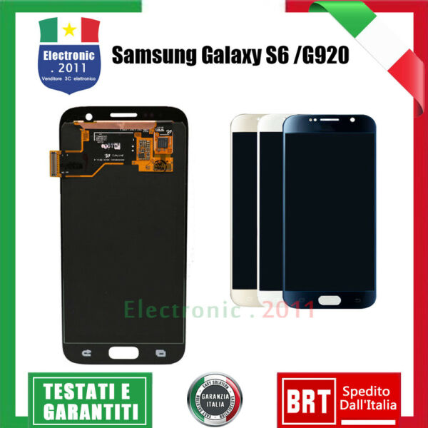 PER SAMSUNG GALAXY S6 G920 SM-G920F DISPLAY LCD TOUCH SCREEN SCHERMO VETRO NERO
