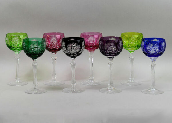 A FINE SET OF EIGHT COLOUR FLASHED & CUT CRYSTAL HOCK GLASSES