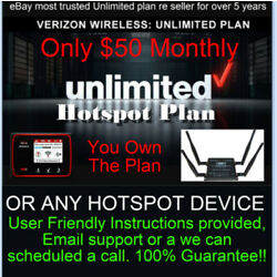 Kyпить Verizon Hotspot Unlimited Plan - $50 monthly - Genuine IMIE number - Free на еВаy.соm