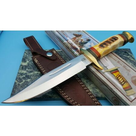 img-Couteau de Chasse Frost Cutlery Chipaway Running Bear Bowie Etui Cuir FCW600YB