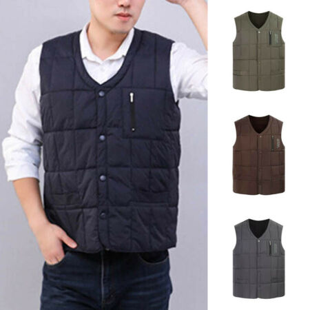 img-Winter Mens Hiking Quilted Vest Body Warmer Gilet Sleeveless Padded Jacket Coats