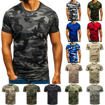 img-Mens Camo Military Summer Short Sleeve T-Shirt Camouflage Slim Army Sports Tops