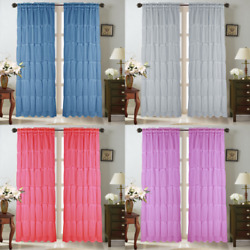 Kyпить 2PC MULTILAYERED VERTICAL RUFFLE PANEL WINDOW CURTAIN SHEER CRUSHED SHUBBY CHIC  на еВаy.соm