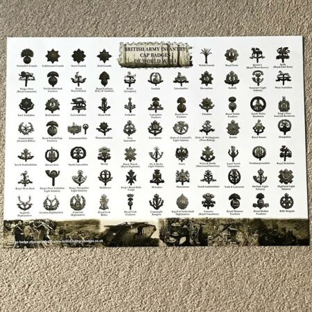 img-WW1 British Infantry Regiment Cap Badges Identification Guide A2 Poster - FOLDED