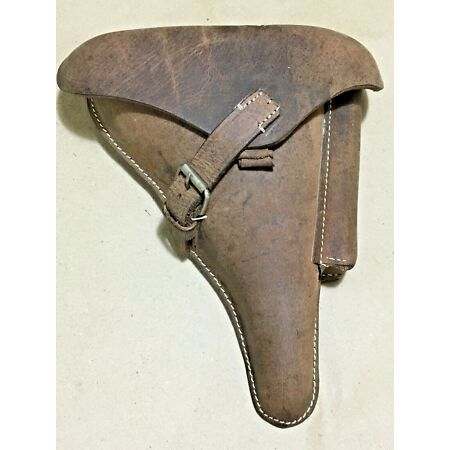 img-WWII GERMAN LUGER P08 Hardshell Holster Antique Look Oiled Leather - Repro