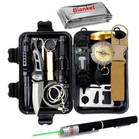 img-Survival Kit Set Wristband Whistle Blanket Knife Outdoor Mini Camping Tools Aid
