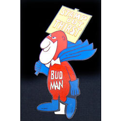 Bud Man Budweiser Beer Vintage Sticker Stamp Out Thirst New Old Stock