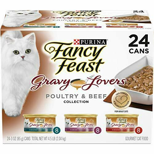 Premium Purina Fancy Feast Gravy Lovers (24) 3 Oz. Cans, Poultry & Beef - 8...