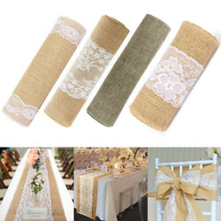 Kyпить Natural Rustic Burlap Hessian Lace Table Runner Wedding Banquet Party Decoration на еВаy.соm