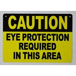 Caution Eye Protection Required in This Area Sign (Yellow,7X10 inch)-ref0420