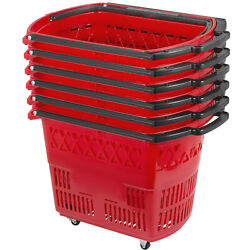 Shopping Basket 9 Gallon Trolley Rolling with Handle 4 Castors Red - Pack of 6