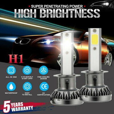 H1 MINI LED Headlight Bulbs Conversion Kit 2000W 48000LM 6000K Hi/Lo Beam Lamps