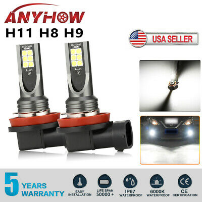 2Pcs H11/H8/H9 LED Headlight 400W 16000LM Fog Light Kit High Power 6000K White