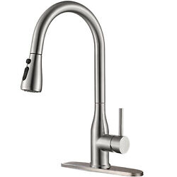 Brushed Nickel Kitchen Sink Faucet Swivel Pull Out Sprayer Mixer Tap with Cover