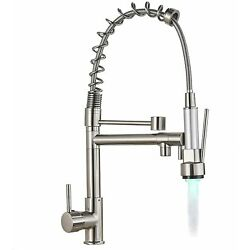 Kyпить Brushed Nickel LED Kitchen Faucet Sink Pull Out Sprayer Swivel Spout Mixer Tap на еВаy.соm