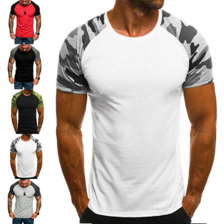 img-Summer Men Sports Camouflage GYM Short Sleeve Slim Muscle Tee T-Shirt Basic 3XL