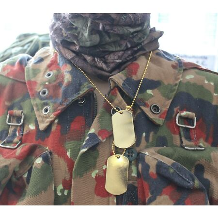 img-US ARMY REPRO WW2 STYLE NAME / DOG TAGS on NECKLACE CHAIN