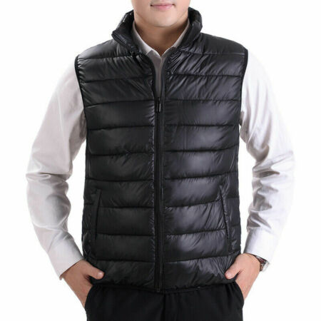 img-Mens Winter Warm Puffer Waistcoat Quilted Padded Gilet Sleeveless Zip Vest