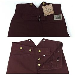 Old West Frontier Classic Outlaw Trousers Pants V Notch Back Sz W30 L37 Burgundy