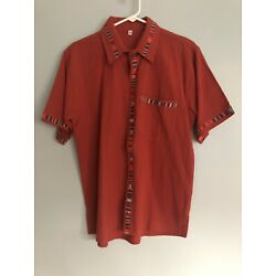 Traditional Guatemalan Men's Shirt with Embroidered trim Rust, Red Size M