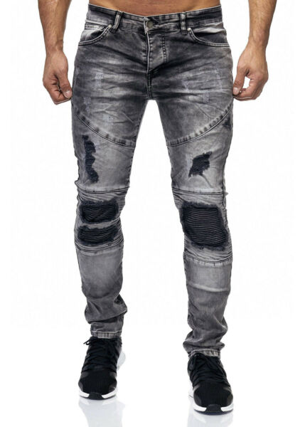 AllemagneJeans Homme Motard Pantalon Gris Destroyed Stonewash Denim Slim Fit John Kayna