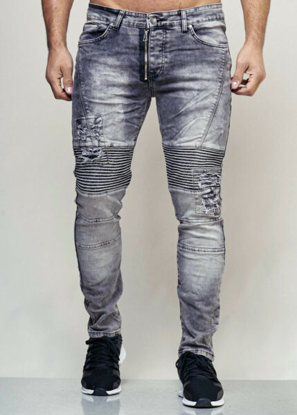 AllemagneHomme Motard Jeans Gris Look Destroyed Ripped Pantalon Slim Fit John Kayna