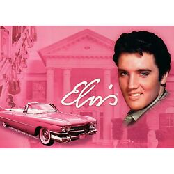 Elvis Presley + His Pink Cadillac at Graceland, Memphis, Tennessee --- Postcard