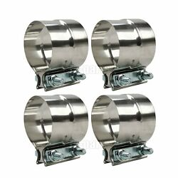 Kyпить 4 Packs Lap Joint Clamps Heavy Duty Exhaust Band 2.5