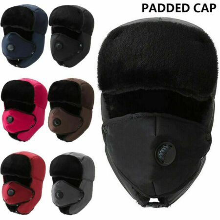 img-Mens Winter Warm Face Mask Cap Aviator Trapper Trooper Ski Hats with Earflap UK