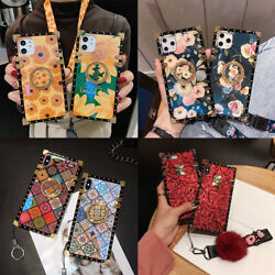 For iPhone 12 11 XS Max XR 6 7 8 Luxury Flower with Ring Metal Square Case Cover