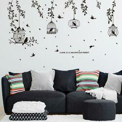 Black Bird Cage and Leaf home deco wall sticker living Kids Room Deco Tv Backgro