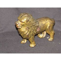 Kyпить Antique Gold Metal Lion Bank, 5